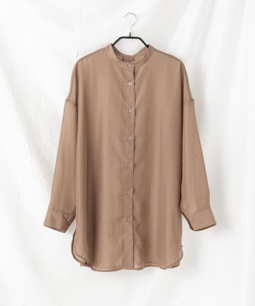 COLONY 2139(コロニー トゥーワンスリーナイン) 【WEB・一部店舗限定】シアーバンドカラーバックオープンシャツ
