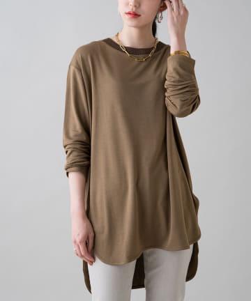 Loungedress(ラウンジドレス) 襟リブニットTシャツ