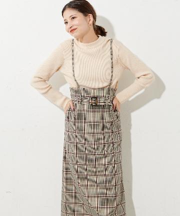 Discoat(ディスコート) 肩紐付きチェックナロースカート
