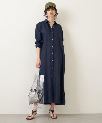 Whim Gazette(ウィム ガゼット) リネンシャツドレス