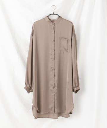 COLONY 2139(コロニー トゥーワンスリーナイン) 【WEB限定】サテンバンドカラーロングシャツ