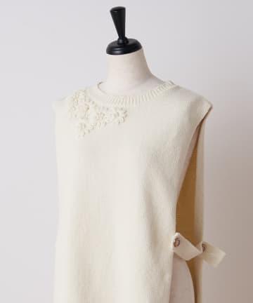 BEARDSLEY(ビアズリー) 花刺繍コットンニットベスト