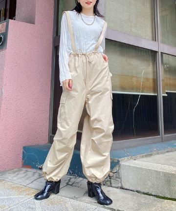 OUTLET(アウトレット) 【Kastane】サテン織りサス付きベイカーパンツ