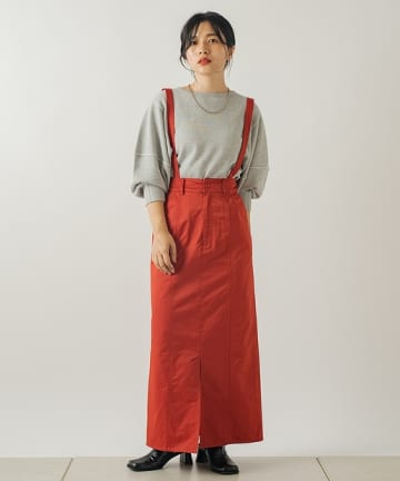 OUTLET(アウトレット) 【Kastane】サテン織りサス付き編み上げスカート