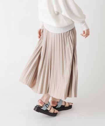 un dix cors(アンディコール) 【大人かっこいい印象に】レザープリーツスカート