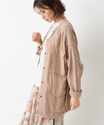 un dix cors(アンディコール) 【シャツ感覚で羽織れる】バンドカラーシャツブルゾン