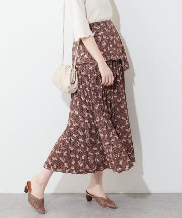 natural couture(ナチュラルクチュール) 【WEB限定】プリーツ異素材切替スカート