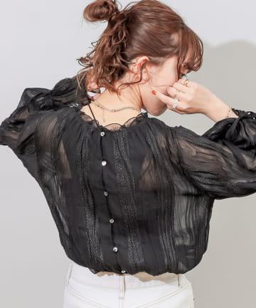 Discoat(ディスコート) 【前後2WAY】ヨウリュウ刺繍キャンディースリーブブラウス