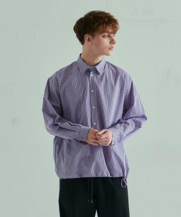 Lui's(ルイス) コード付ストライププルオーバーシャツ