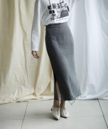 mona Belinda(モナ ベリンダ) 《WEB限定》裾スリットフリンジスカート