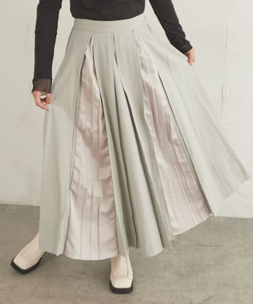 Lui's(ルイス) 異素材MIXボックスプリーツスカート