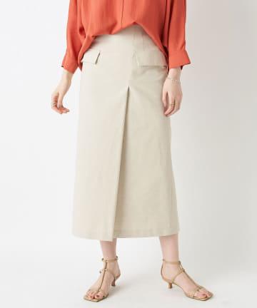 RIVE DROITE(リヴドロワ) 【女らしさを盛り上げる】リネン混フラップスカート