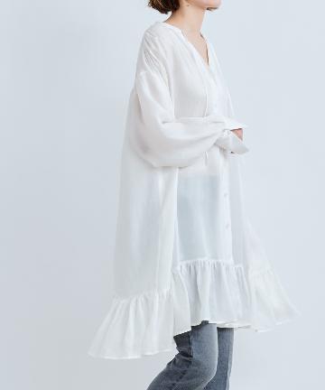 DOUDOU(ドゥドゥ) 裾フリルチュニックブラウス