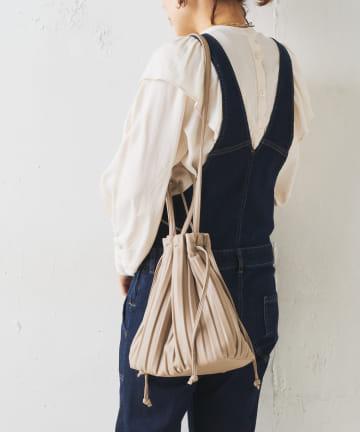 Discoat(ディスコート) 【抗菌】くったりプリーツ巾着トートバッグ