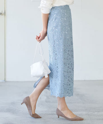La boutique BonBon(ラブティックボンボン) 【洗える】コードレースナロースカート