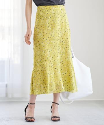 La boutique BonBon(ラブティックボンボン) 【洗える】カットジャガード小花プリントマーメイドスカート