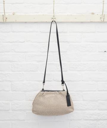 La boutique BonBon(ラブティックボンボン) 【MARCO MASI (マルコマージ)】ラフィアがま口風バッグ