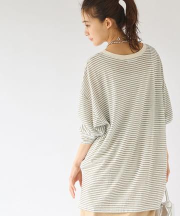La boutique BonBon(ラブティックボンボン) 【手洗い可】シアーボーダーロングTシャツ