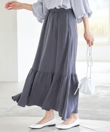La boutique BonBon(ラブティックボンボン) 動画付き【手洗い可】キュプラティアードマキシスカート