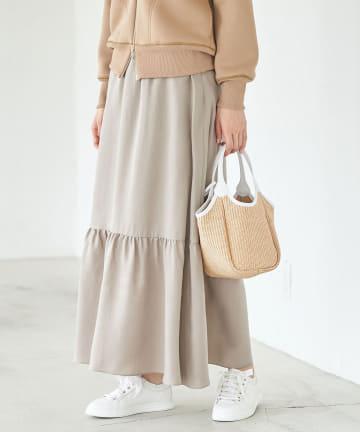 La boutique BonBon(ラブティックボンボン) 【手洗い可】キュプラティアードマキシスカート