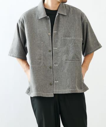 COLONY 2139(コロニー トゥーワンスリーナイン) ポリトロステッチ配色ポケットBIG半袖シャツ(セットアップ可)