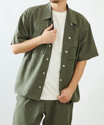 COLONY 2139(コロニー トゥーワンスリーナイン) ポリトロフラップポケットミリタリー半袖シャツ(セットアップ可)