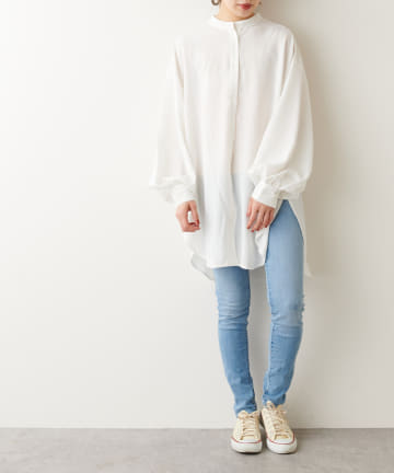 NICE CLAUP OUTLET(ナイスクラップ アウトレット) バンドカラーシャツ