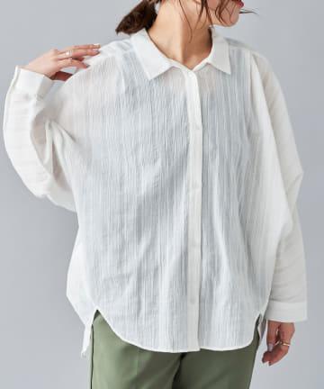 Chez toi(シェトワ) シアーストライプバックカシュクールシャツ