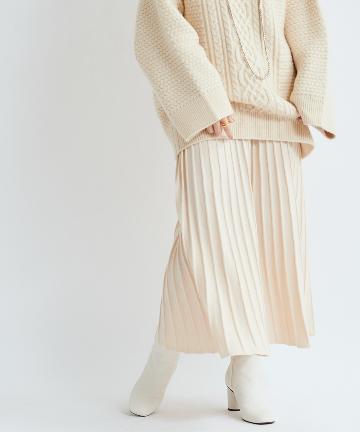 DOUDOU(ドゥドゥ) 【WEB限定】ニットプリーツスカート