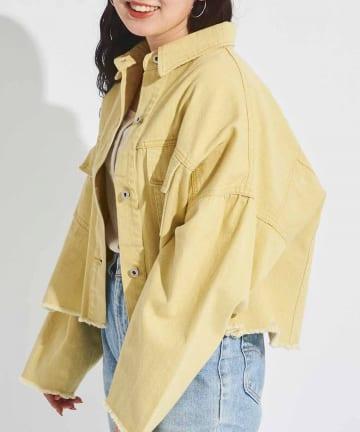 CPCM(シーピーシーエム) クロップドダメージ裾ブルゾン