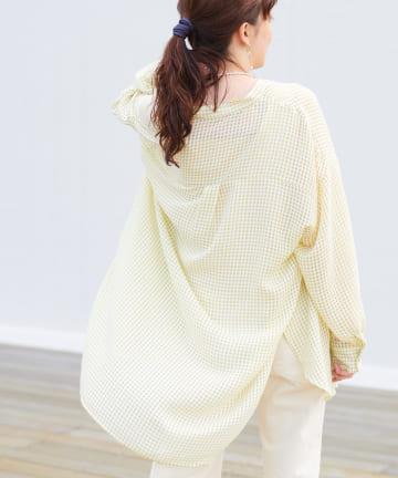 Discoat(ディスコート) シアーギンガムバンドカラーシャツ