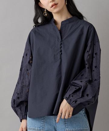 Loungedress(ラウンジドレス) 袖レースシャツ