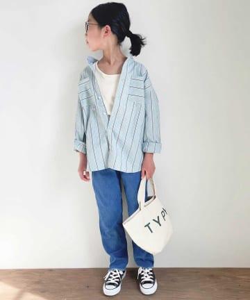 CIAOPANIC TYPY(チャオパニックティピー) 【KIDS】【デイリープレミアム】ストライプオックス バンドカラーシャツ