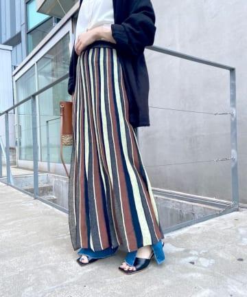 SHENERY(シーナリー) リネン混ストライプニットフレアスカート