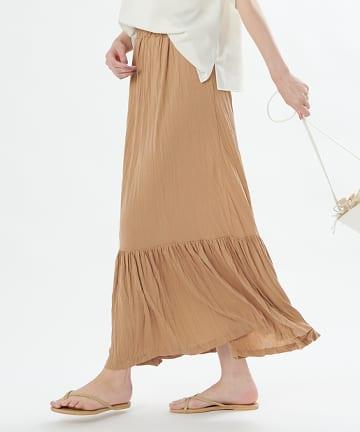 OUTLET premium(アウトレット プレミアム) 【手洗い可】クリンクルジャージ切替スカート