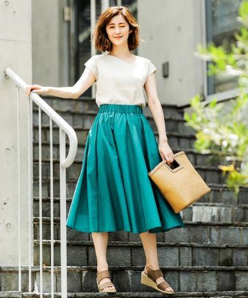 OUTLET premium(アウトレット プレミアム) 【《シルエットが美しい》手洗い可】コットンギャザースカート