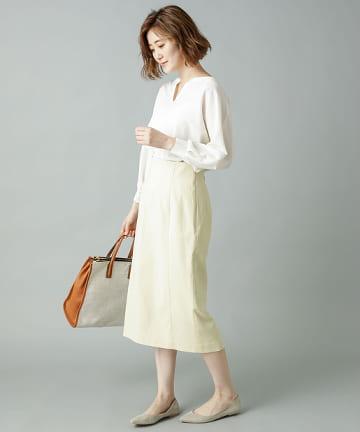 OUTLET premium(アウトレット プレミアム) 【《美シルエットが自慢》手洗い可】切替ナロースカート
