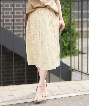 OUTLET premium(アウトレット プレミアム) 【手洗い可】ブラッシュフラワースカート