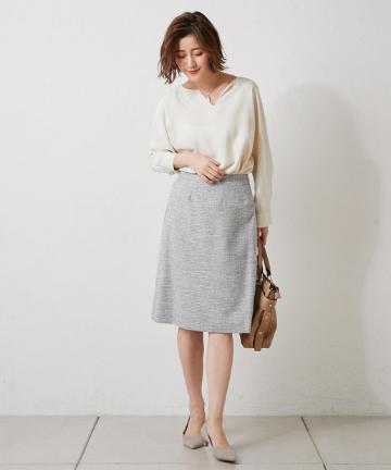OUTLET premium(アウトレット プレミアム) 【さりげないラメが女性らしい】綾織ツイードスカート