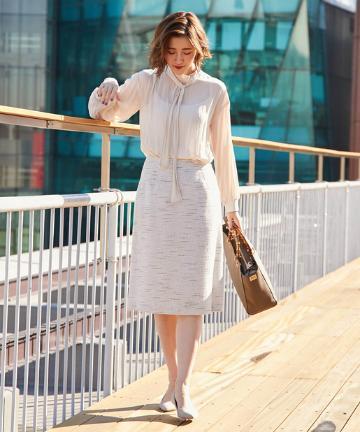 OUTLET premium(アウトレット プレミアム) 【華やかで上品】マットスラブツイードスカート