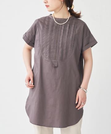 CPCM(シーピーシーエム) 前タックバンドカラー半袖プルオーバーシャツ