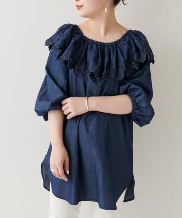 BEARDSLEY(ビアズリー) 衿刺繍デニムプルオーバー
