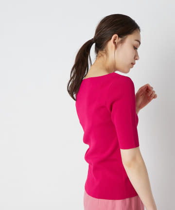 La boutique BonBon(ラブティックボンボン) 【手洗い可・接触冷感・UVカット】総針5分袖ニット