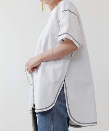 COLONY 2139(コロニー トゥーワンスリーナイン) 天竺前後差半袖T/サイドスリットTシャツ