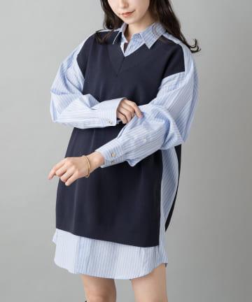 Loungedress(ラウンジドレス) 【WEB限定】ニットドッキングシャツ