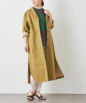BONbazaar(ボンバザール) 配色ボンディングビッグシャツコート