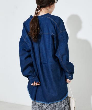Discoat(ディスコート) デニムバンドカラーシャツ
