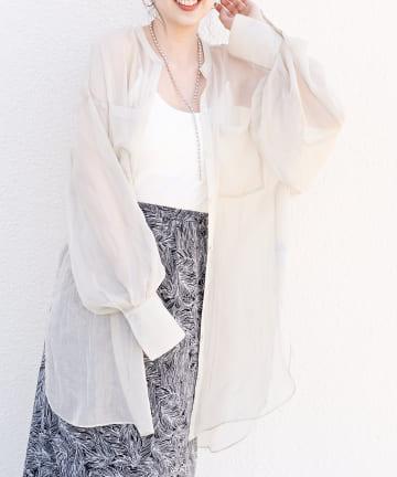 Discoat(ディスコート) ラメシアーバンドカラーシャツ