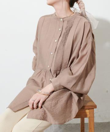 Discoat(ディスコート) テンセルナイロンピンタックバンドカラーシャツ