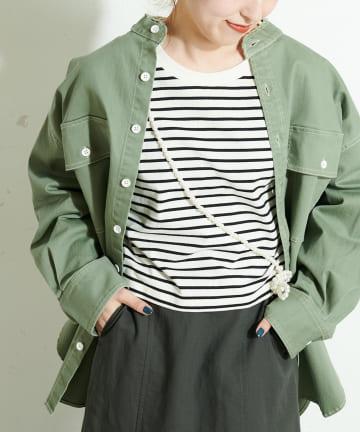 Discoat(ディスコート) 配色ステッチツイルバンドカラーシャツ